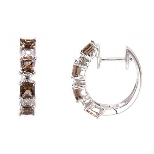 14K White Gold Smokey Quartz With Diamond Earrings
