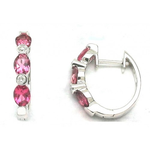 14K White Gold Pink Tourmaline With Diamond Earrings