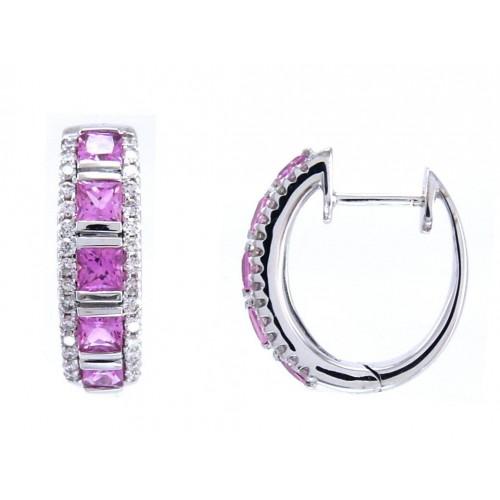 14K White Gold Amethyst With Diamond Earrings