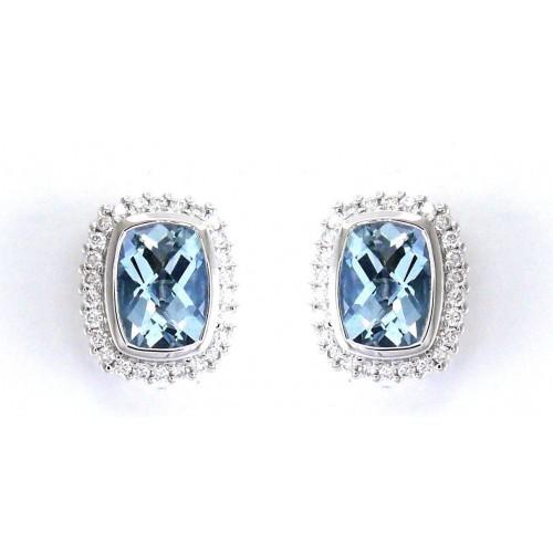 18K Rose Gold Amethyst With Diamond Earrings