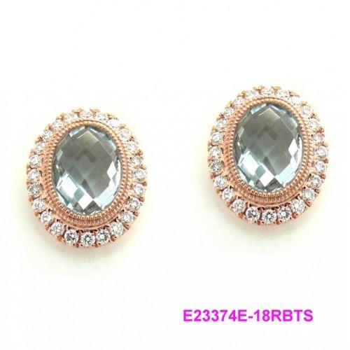 18K Rose Gold Sky Blue Topaz With Diamond Earrings