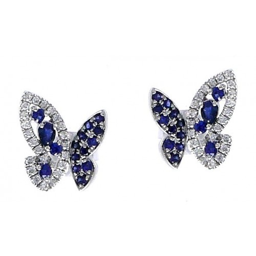 14K White Gold Sapphire With Diamond Earrings