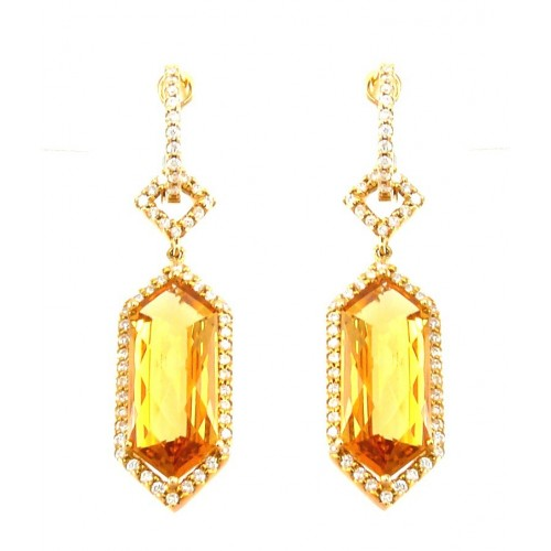 14K Yellow Gold Citrine With Diamond Earrings