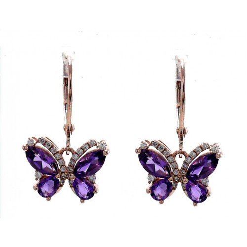 14K Rose Gold Amethyst With Diamond Hoop Earrings