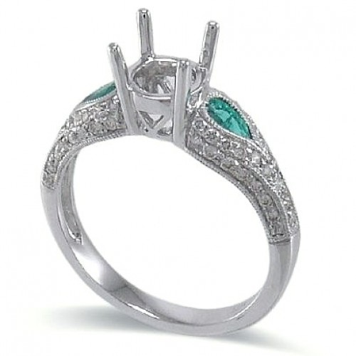 14K White Gold Emerald With Diamond Ring Mounting