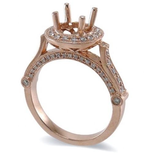 14K Rose Gold Diamond Ring Mounting