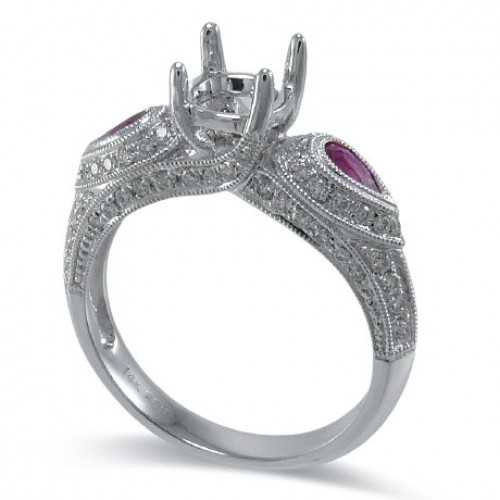 14K White Gold Ruby With Diamond Ring Mounting