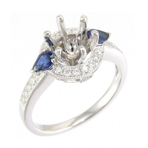 14K White Gold Sapphire With Diamond Ring Mounting