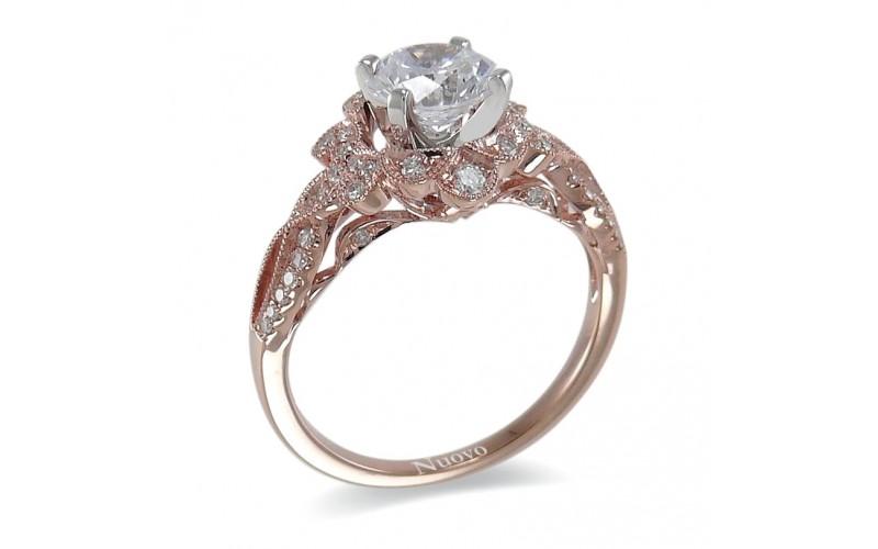 14K Rose & White Gold Diamond Ring Mounting