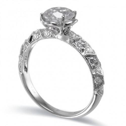14K White Gold Diamond Ring Mounting
