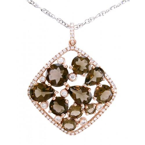 14K White Gold Smokey Quartz With Diamond Pendant