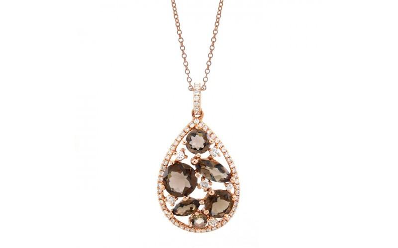 14K Rose Gold Smokey Quartz With Diamond Pendant