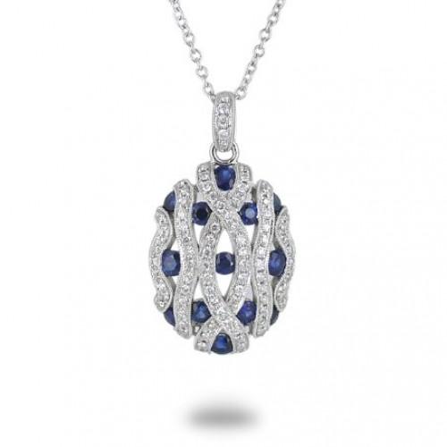 14K White Gold Sapphire With Diamond Pendant
