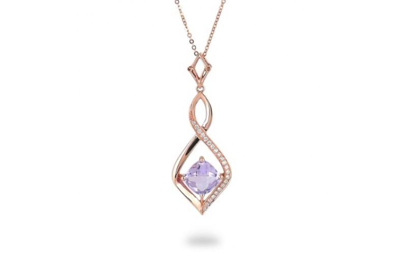 14K Rose Gold Amethyst With Diamond Pendant