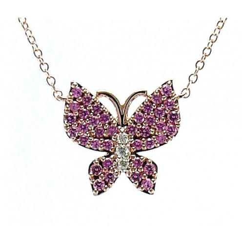 14K Rose Gold Pink Sapphire & Diamond Pendant With Chain
