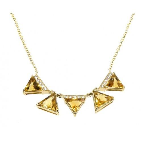 14K Yellow Gold Cirtine With Diamond Necklace
