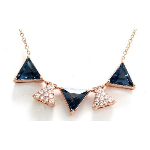 14K Rose Gold London Blue Topaz With Diamond Necklace