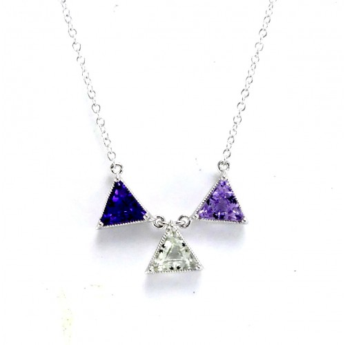 14K White Gold Multi- Color Gems With Diamond Pendant With Chain
