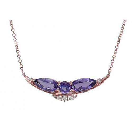 14K Rose Gold Amethyst With Diamond Necklace