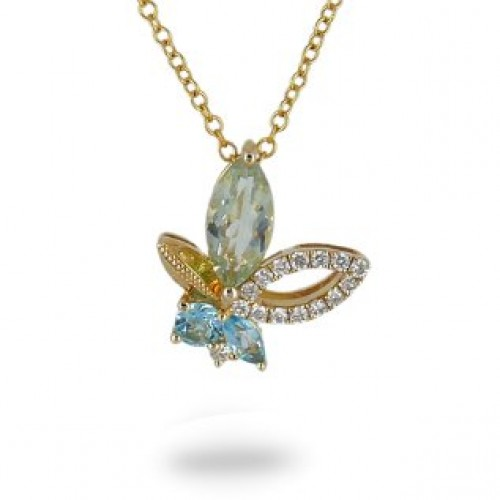 14K Yellow Gold Multi- Color Gems, Diamond Pendant With Chain