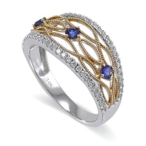 14K Yellow & White Gold Sapphire With Diamond Ring