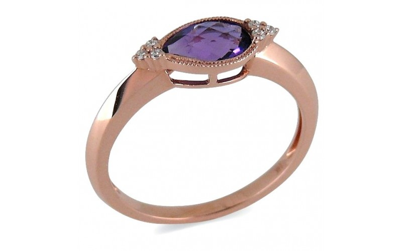 14K Rose Gold Amethyst With Diamond Ring
