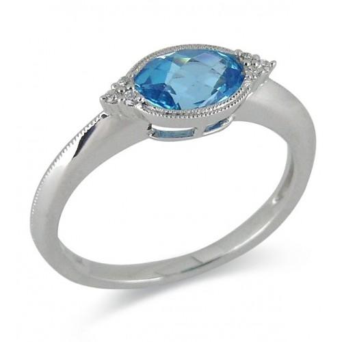 14K White Gold Blue Topaz With Diamond Ring