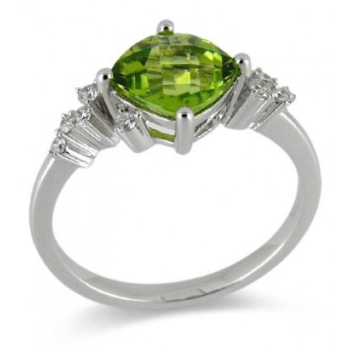14K White Gold Peridot With Diamond Ring