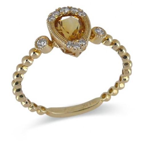 14K Yellow Gold Citrine With Diamond Ring