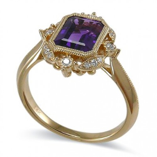 14K Yellow Gold Amethyst With Diamond Ring